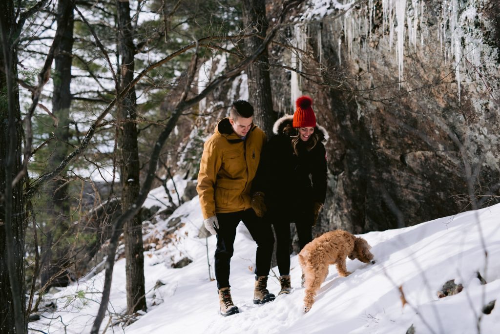 winter cottage engagement session