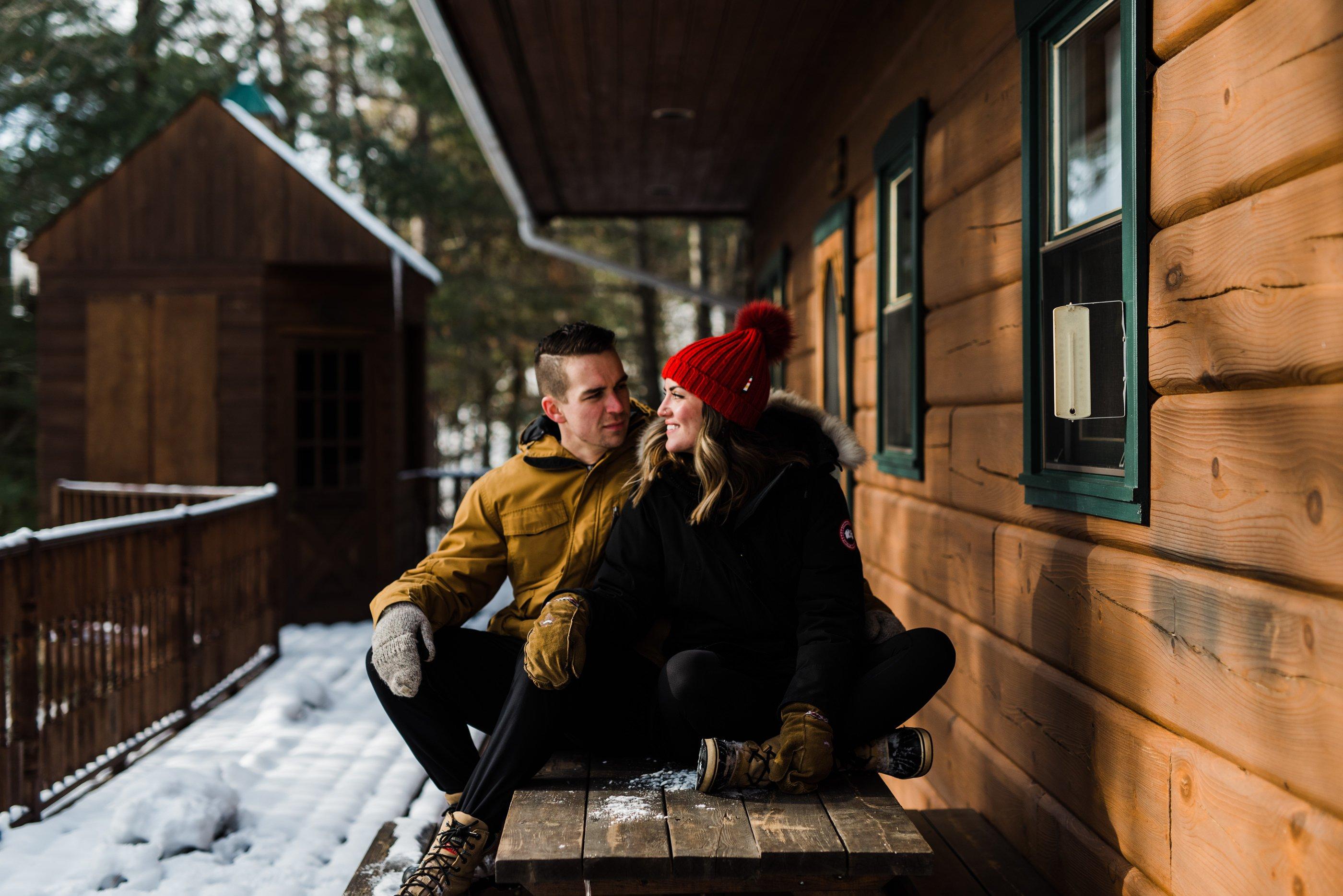 winter cottage engagement session